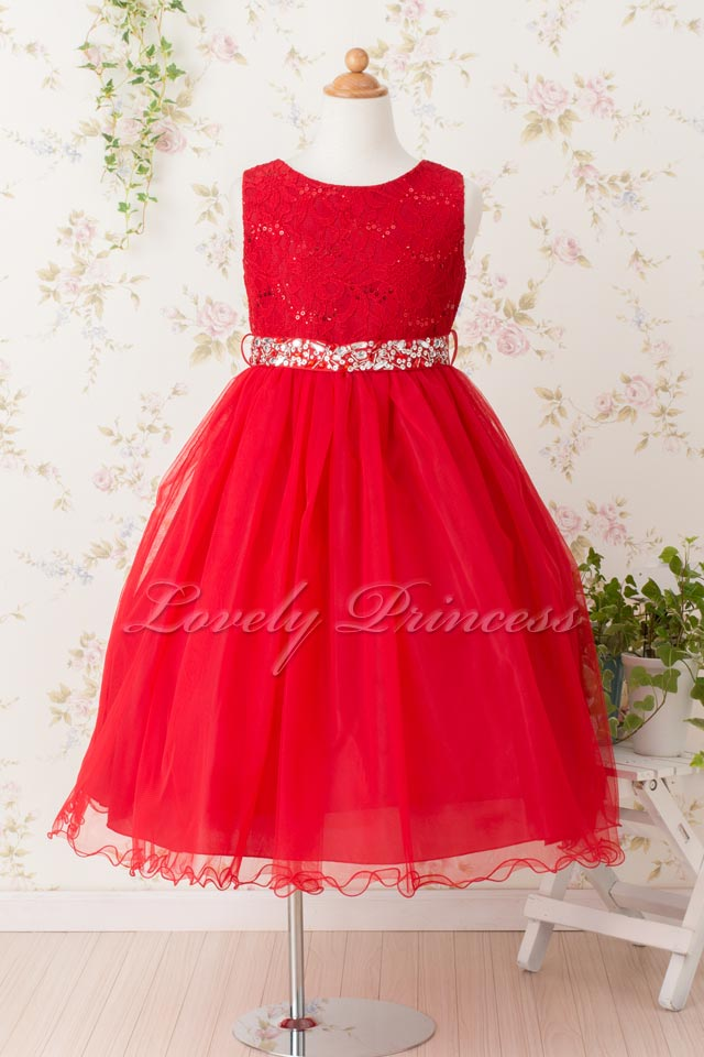 子供ドレス サフラン レッド