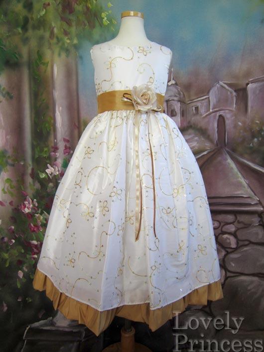 子供ドレス ルビー アイボリーゴールド