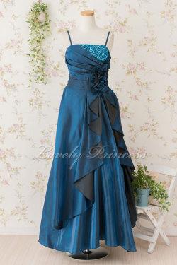 レディース用 ステージドレス 胸元巻きフラワープリーツロングドレス ティール(3247)