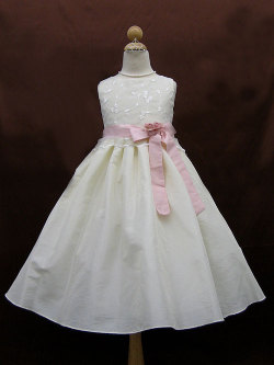 子供ドレス フローラ アイボリー/ピンク