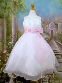 子供用ドレス ノーラ ホワイトピンク