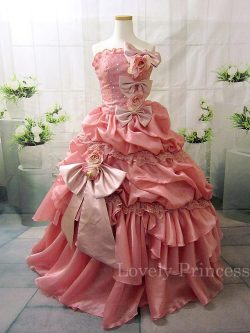 ステージ衣装・結婚式に!ローズピンクのエレガントなプリンセスロングドレス