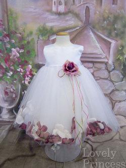 ベビードレス メリーサテン ホワイトダークローズ