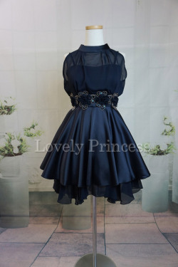 【パーティードレス・演奏会ドレス】ホルターネックパーティードレス ネイビー(82105