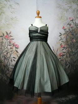 子供ドレス アンジェ セージ/ブラック1