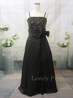 胸元刺繍&ウエストリボンロングドレス ブラック(SKJ001)