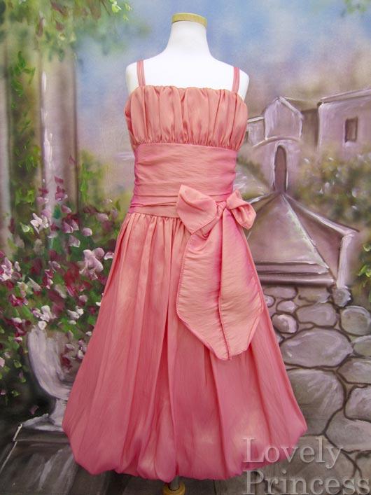 バルーンタイプの可愛らしい子供ドレス ジェイミー コーラル