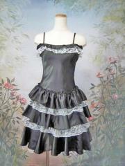 a8685b2694faf レディース用 パーティードレス フリフリワンピースドレス ブラックホワイト(PM8177-BKW)
