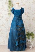 レディース用 ステージドレス オフショルダーエレガントロングドレス ネイビー(1495)