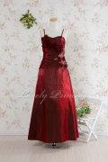 【コンクールロングドレス】コサージュビーズ&刺繍ロングドレス バーガンディ(1860049)