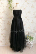 胸元レースふんわりメッシュロングドレス ブラック