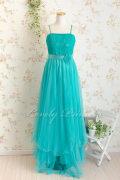胸元レースふんわりメッシュロングドレス エメラルドグリーン
