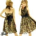 Lサイズコサージュ付きホルターネックチュールフロッキー柄ドレス(ID8585)ゴールド