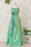 【フォーマルドレス・ステージドレスロング】バストスパン刺繍使いロングドレス グリーン