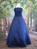 ロングフォーマルドレス フラワースパンコール装飾ドレス ロイヤルブルー