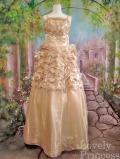 パーティードレス 段々メローフリルビーズ刺繍フラワー豪華姫ドレス ゴールド