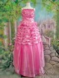 【パーティードレス・ステージドレスロング】段々メローフリルビーズ刺繍フラワー豪華姫ドレス ピンク