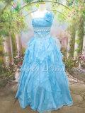 ウエスト刺繍フリフリオーガンジーロングドレス ブルー(ID8437)