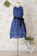 (お取り寄せ商品)ガラスストーン&パール装飾ワンピースドレス ブルー