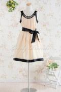 【パーティードレス・演奏会ドレス】ビジュー装飾シフォンミデイアムドレス シャンパン(K032)