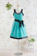 【パーティードレス・演奏会ドレス】ビジュー装飾シフォンミデイアムドレス グリーン(K032)