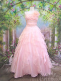 ウエスト刺繍フリフリオーガンジーロングドレス ピンク(ID8437)