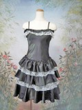 パーティードレス フリフリワンピースドレス ブラック/ホワイト
