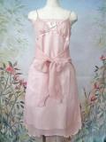 パーティードレス シフォン微ラメようりゅうリボン飾り付ドレスワンピース ピンク