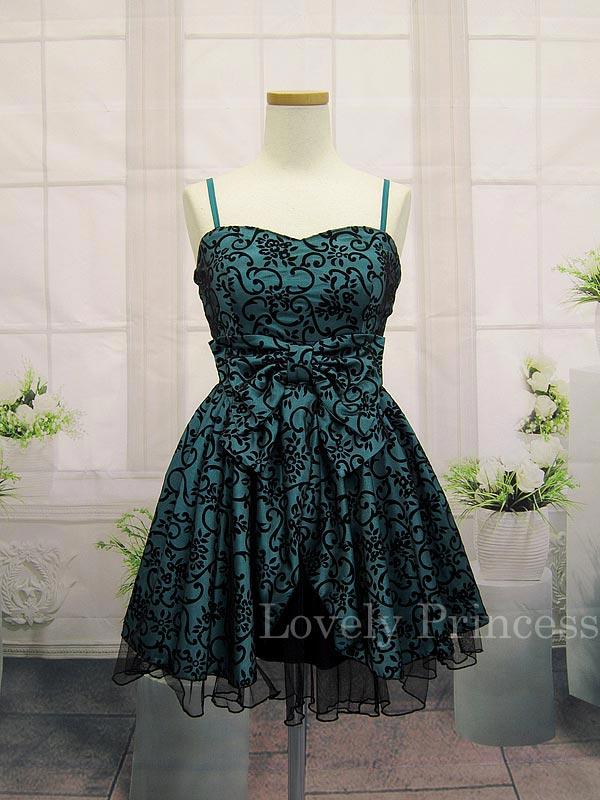 ブラックチュールレイヤー加工ドレス ティール(SK82131-T)