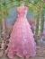 フォーマルドレス ティーアードフリルコサージュ付姫ドレス ピンク