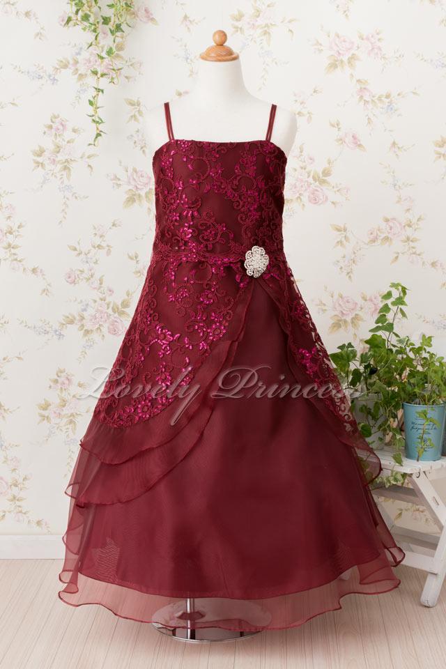 子どもドレス(TK4386) バーガンディ