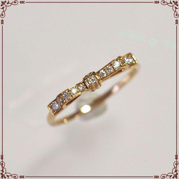 K18ピンクゴールド リボンモチーフ リング 【IOR0001PG】◆最高級ダイヤモンドジュエリー◆