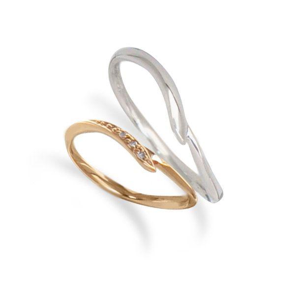 【刻印無料】◆Lovers & Ring ラバーズリング◆K10ペアリング~素材が選べるペアリング~【LSR0653DPK-WG】