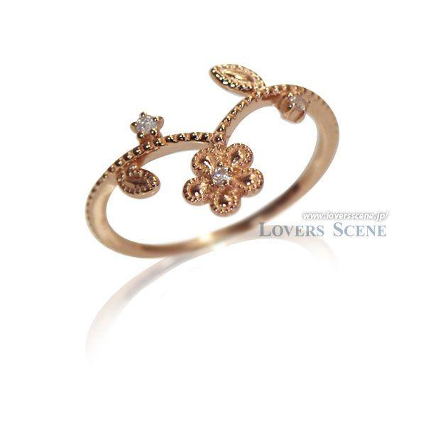ダイヤモンド K10ピンクゴールドリング~Love Bloom/愛の花~【LSR6004DPK】◆Lovers & Ring ラバーズリング◆