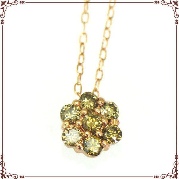 K18ピンクゴールド お花モチーフ ネックレス【P0562】◆最高級ダイヤモンドジュエリー◆