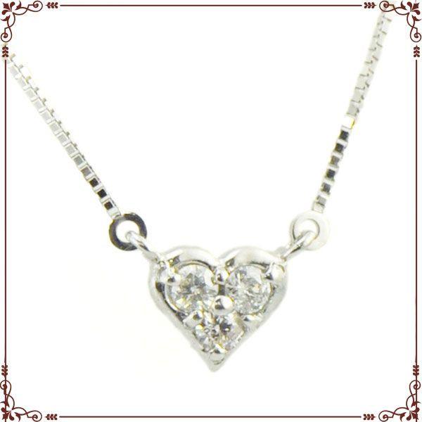 K18ホワイトゴールド ハートモチーフ ネックレス【P1256CH】◆最高級ダイヤモンドジュエリー◆