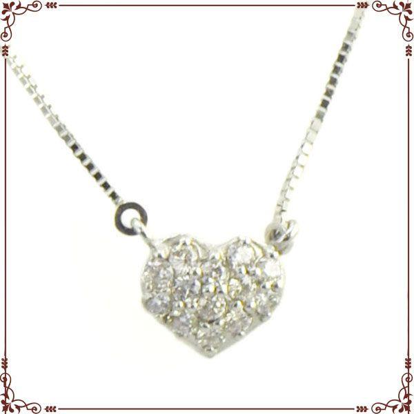 K18ホワイトゴールド ハートパヴェ ネックレス【P1257CH】◆最高級ダイヤモンドジュエリー◆