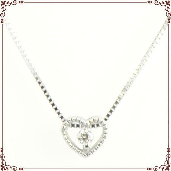 K18ホワイトゴールド ハートモチーフ ネックレス【P1263CH】◆最高級ダイヤモンドジュエリー◆
