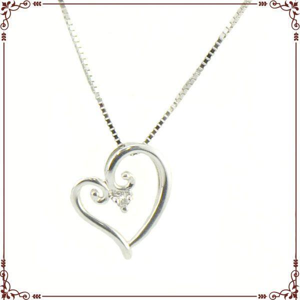 K18ホワイトゴールド ハートモチーフ ネックレス【P1264CH】◆最高級ダイヤモンドジュエリー◆