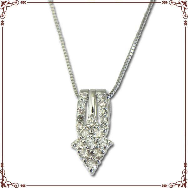 K18ホワイトゴールド スクエア&ダイヤモチーフ ネックレス【P1366CH】◆最高級ダイヤモンドジュエリー◆