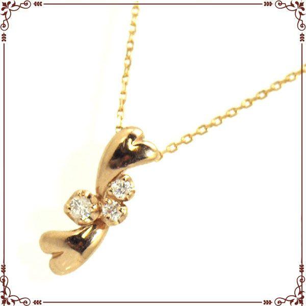 K18ピンクゴールド ハートモチーフ ネックレス【P1378CH-PG】◆最高級ダイヤモンドジュエリー◆