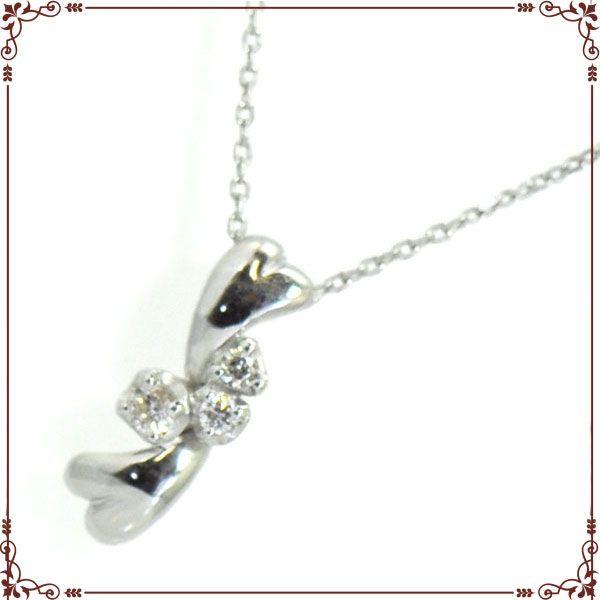 K18ホワイトゴールド ハートモチーフ ネックレス【P1378CH-WG】◆最高級ダイヤモンドジュエリー◆