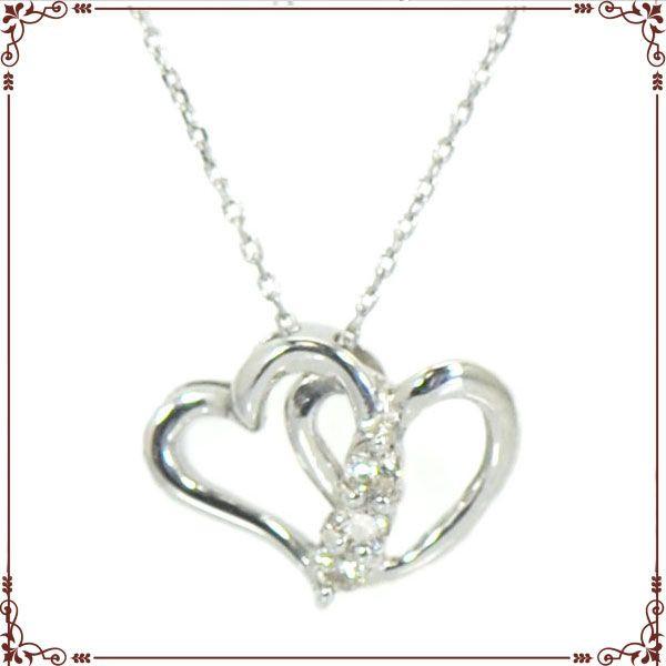 K18ホワイトゴールド ハートモチーフ ネックレス【P1388CH】◆最高級ダイヤモンドジュエリー◆