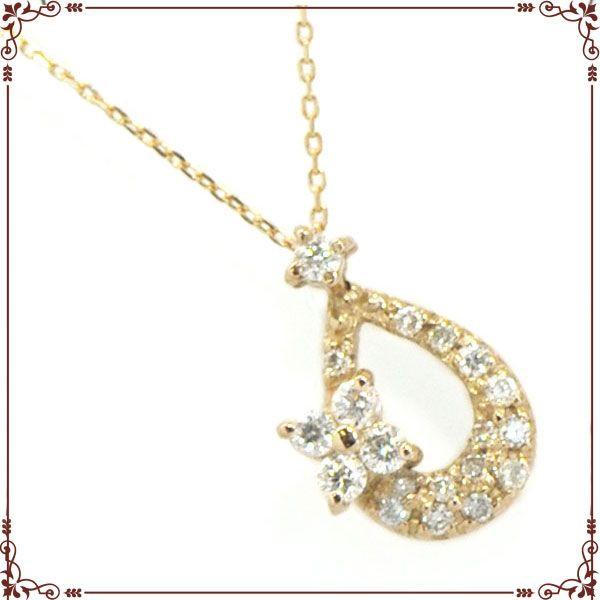 K18ピンクゴールド ドロップモチーフ ネックレス【P1404CH】◆最高級ダイヤモンドジュエリー◆
