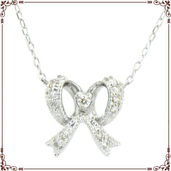 K18ホワイトゴールド リボンモチーフ ネックレス【P1407CH】◆最高級ダイヤモンドジュエリー◆