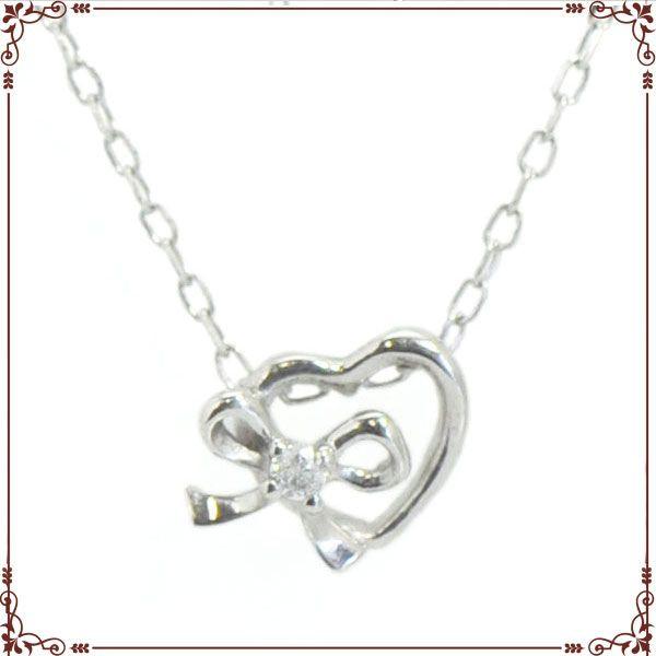 K18ホワイトゴールド ハート&リボン ネックレス【P1469CH】◆最高級ダイヤモンドジュエリー◆