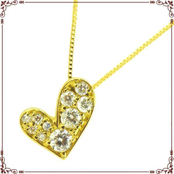 ◆最高級ダイヤモンドジュエリー◆ K18イエローゴールド ハートモチーフ ネックレス【P1491CH】