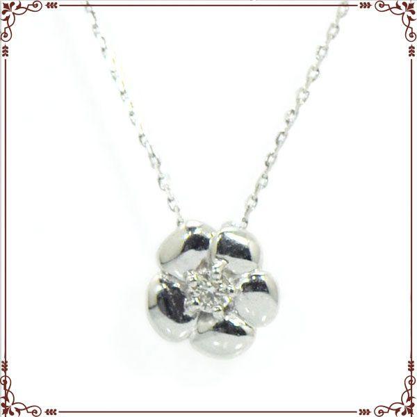 K18ホワイトゴールド お花モチーフ ネックレス【P1528CH】◆最高級ダイヤモンドジュエリー◆