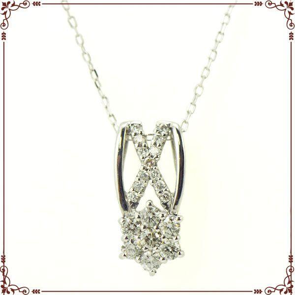 K18ホワイトゴールド クロス&フラワー ネックレス【P1566CH】◆最高級ダイヤモンドジュエリー◆