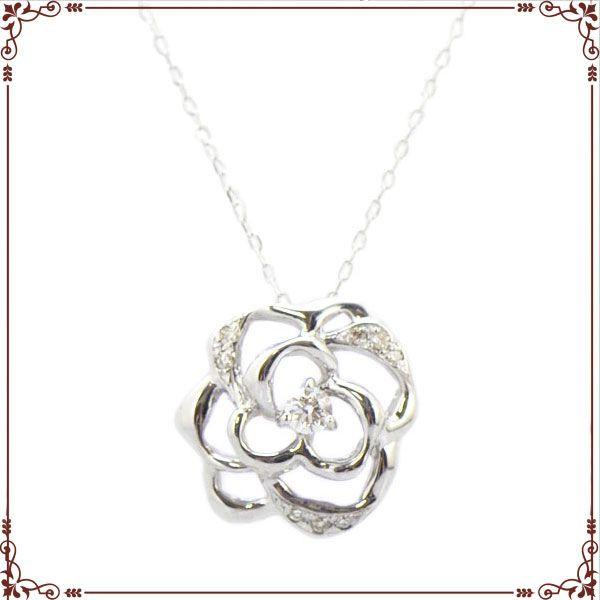 ◆最高級ダイヤモンドジュエリー◆ K18ホワイトゴールド バラモチーフ ネックレス【P1596CH】